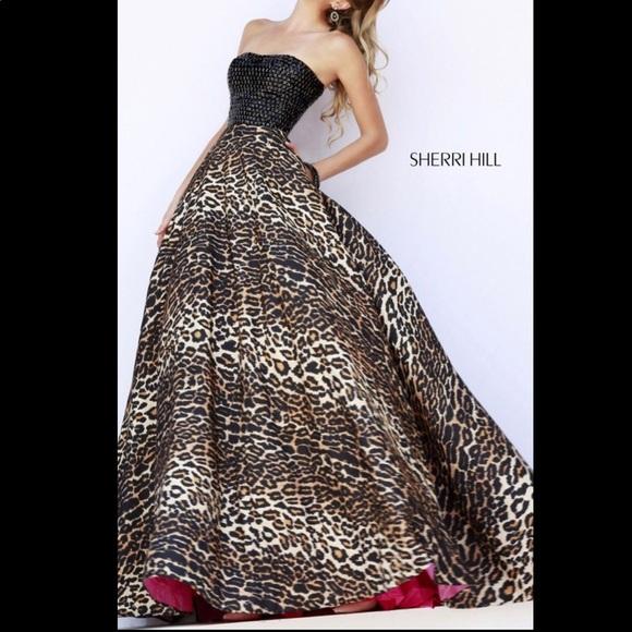 bb8f7c7b582a Sherri Hill Leopard Print Prom Dress with Pink. M_5c642be4a5d7c648b39fca36